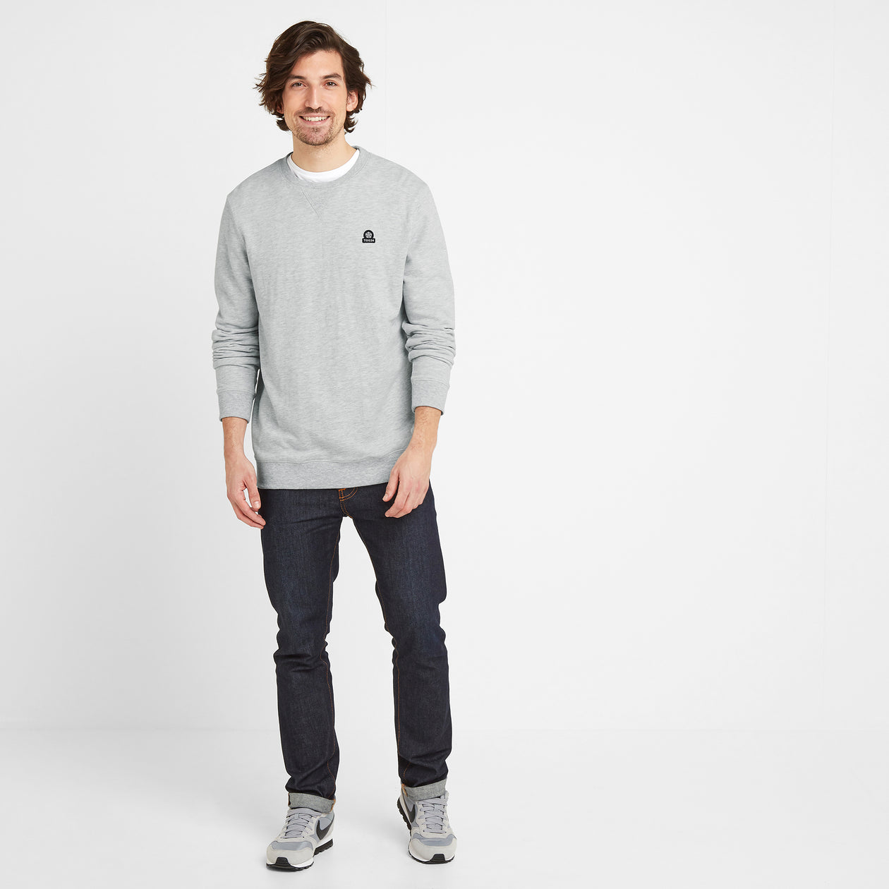 Dore Mens Crew Sweat - Light Grey Marl image 4