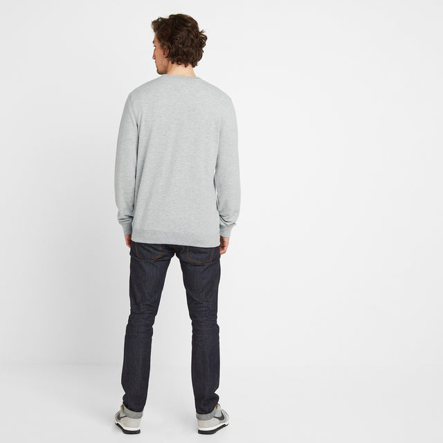 Dore Mens Crew Sweat - Light Grey Marl image 2