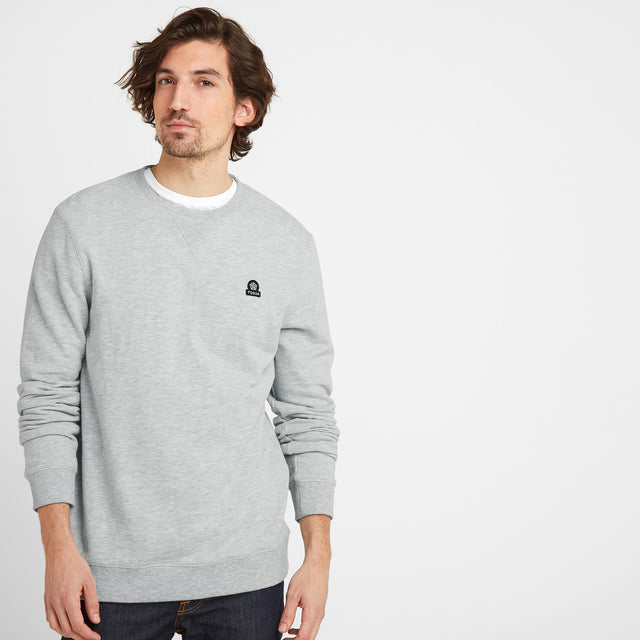 Dore Mens Crew Sweat - Light Grey Marl image 1