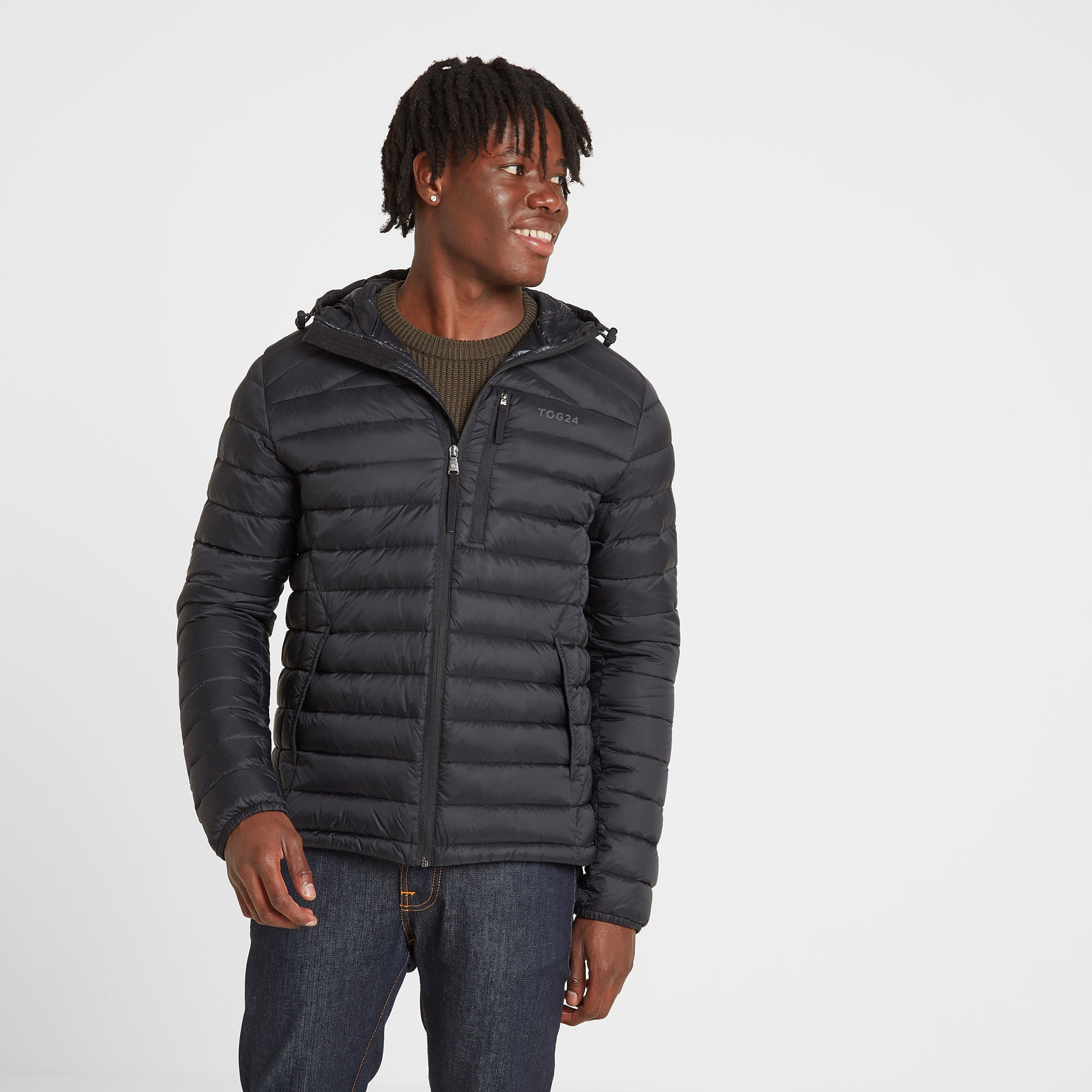Drax Mens Hooded Down Jacket - Black