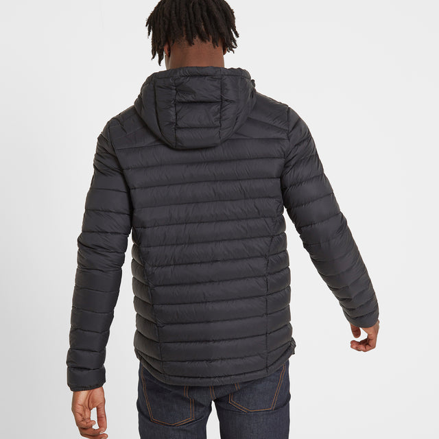 Drax Mens Hooded Down Jacket - Black image 3