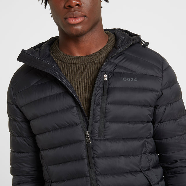 Drax Mens Hooded Down Jacket - Black image 5