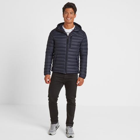 Drax Mens Hooded Down Jacket - Navy