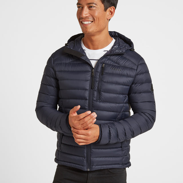 Drax Mens Hooded Down Jacket - Navy image 1