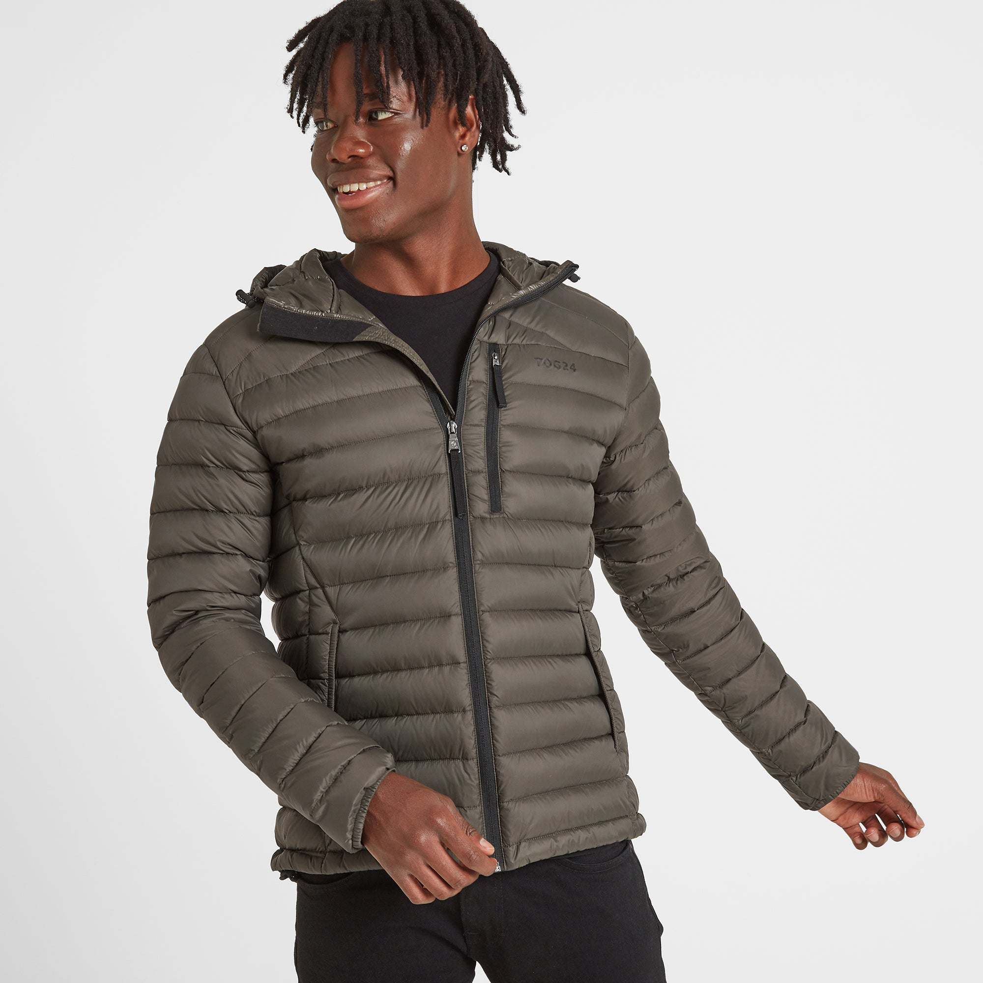 Drax Mens Hooded Down Jacket - Khaki