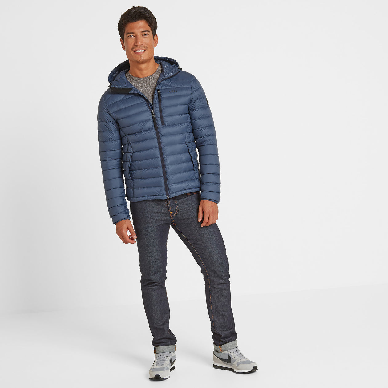 Drax Mens Hooded Down Jacket - Denim image 4