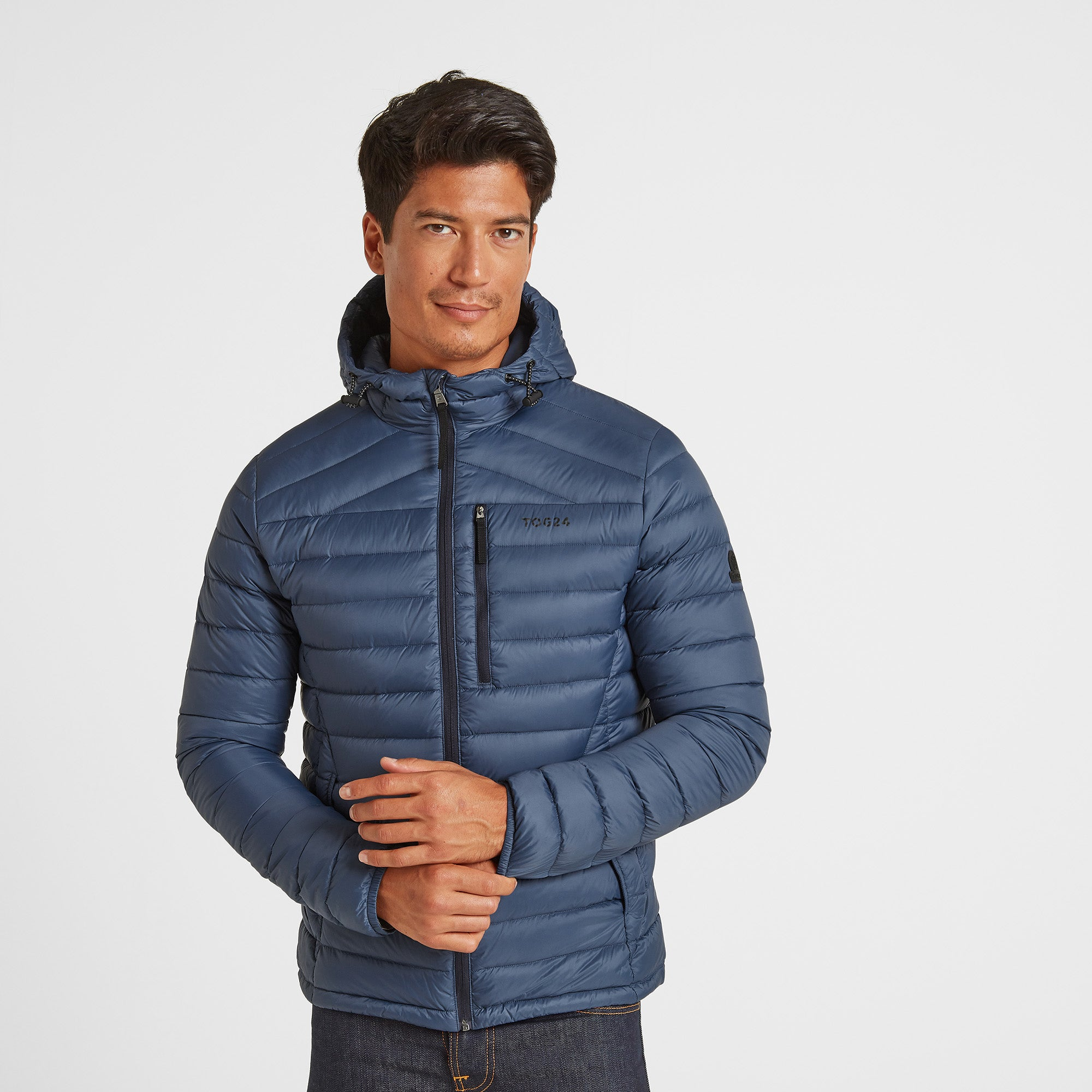 Drax Mens Hooded Down Jacket - Denim