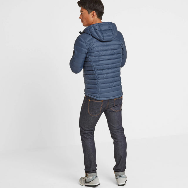 Drax Mens Hooded Down Jacket - Denim image 2