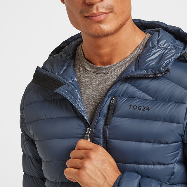 Drax Mens Hooded Down Jacket - Denim image 3