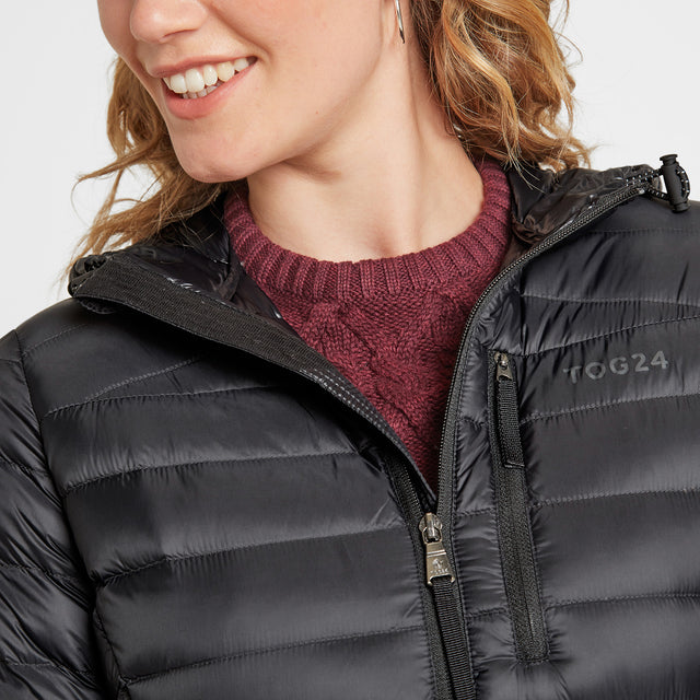 Drax Womens Hooded Down Jacket - Black image 3