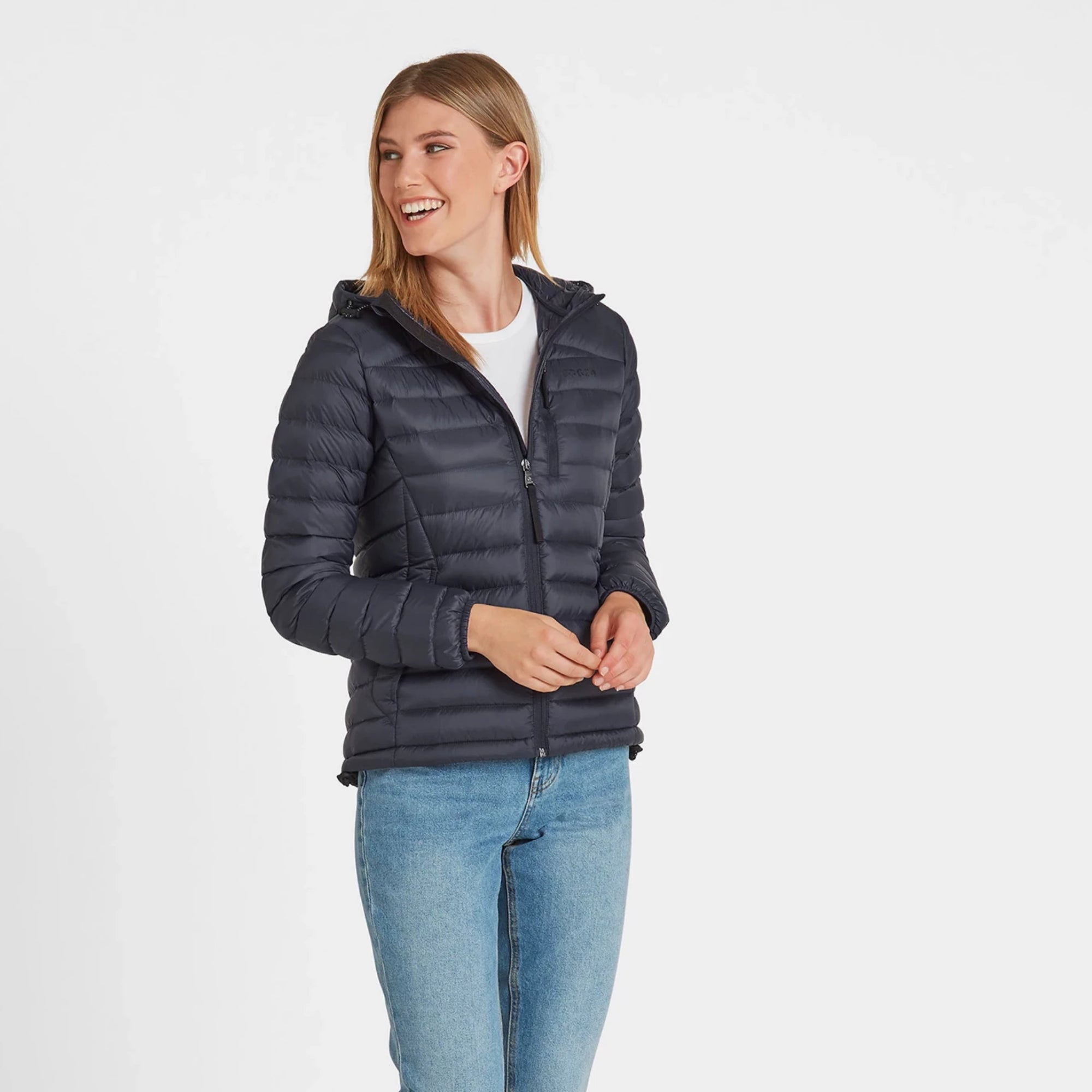 Drax Womens Hooded Down Jacket - Navy