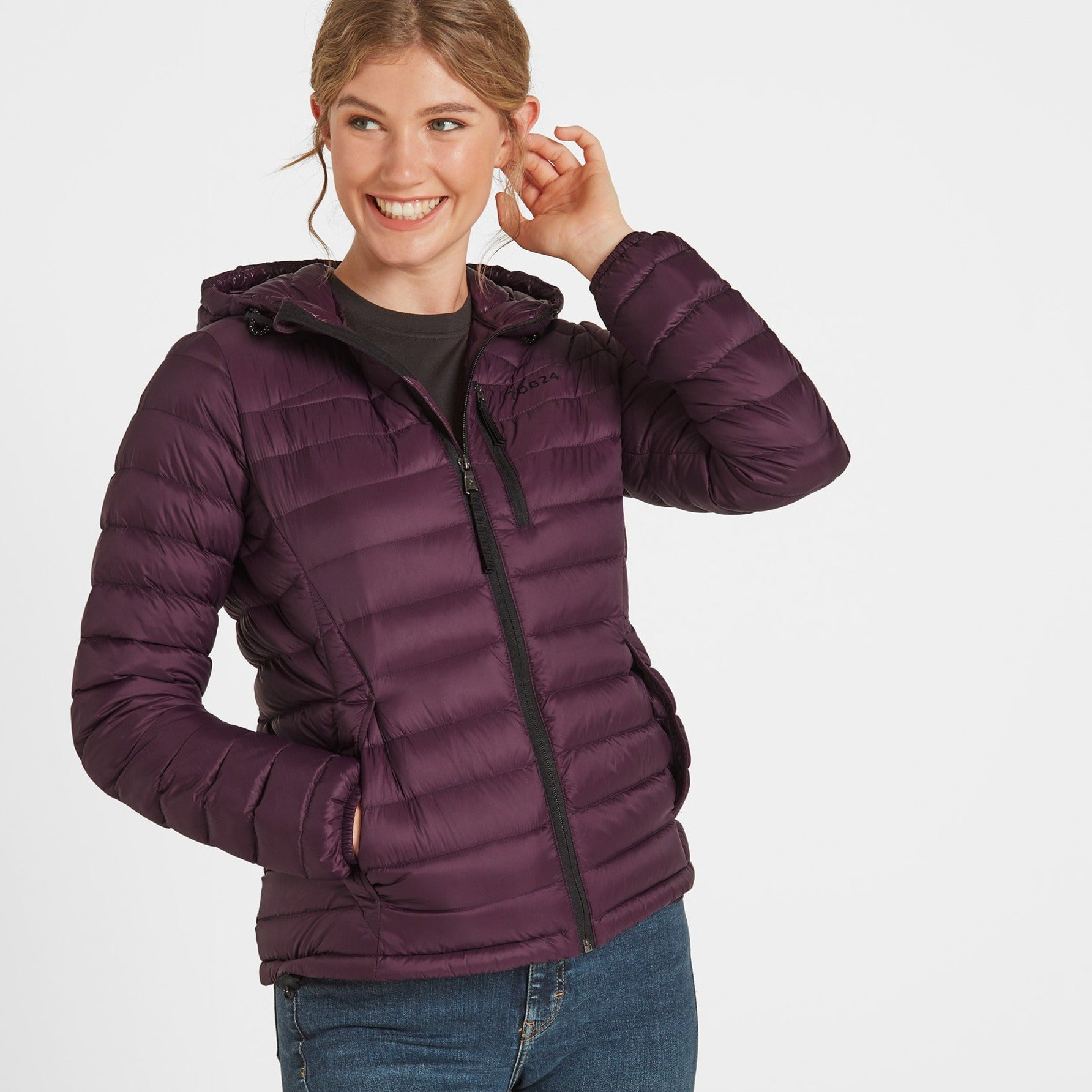 Drax Womens Hooded Down Jacket - Aubergine