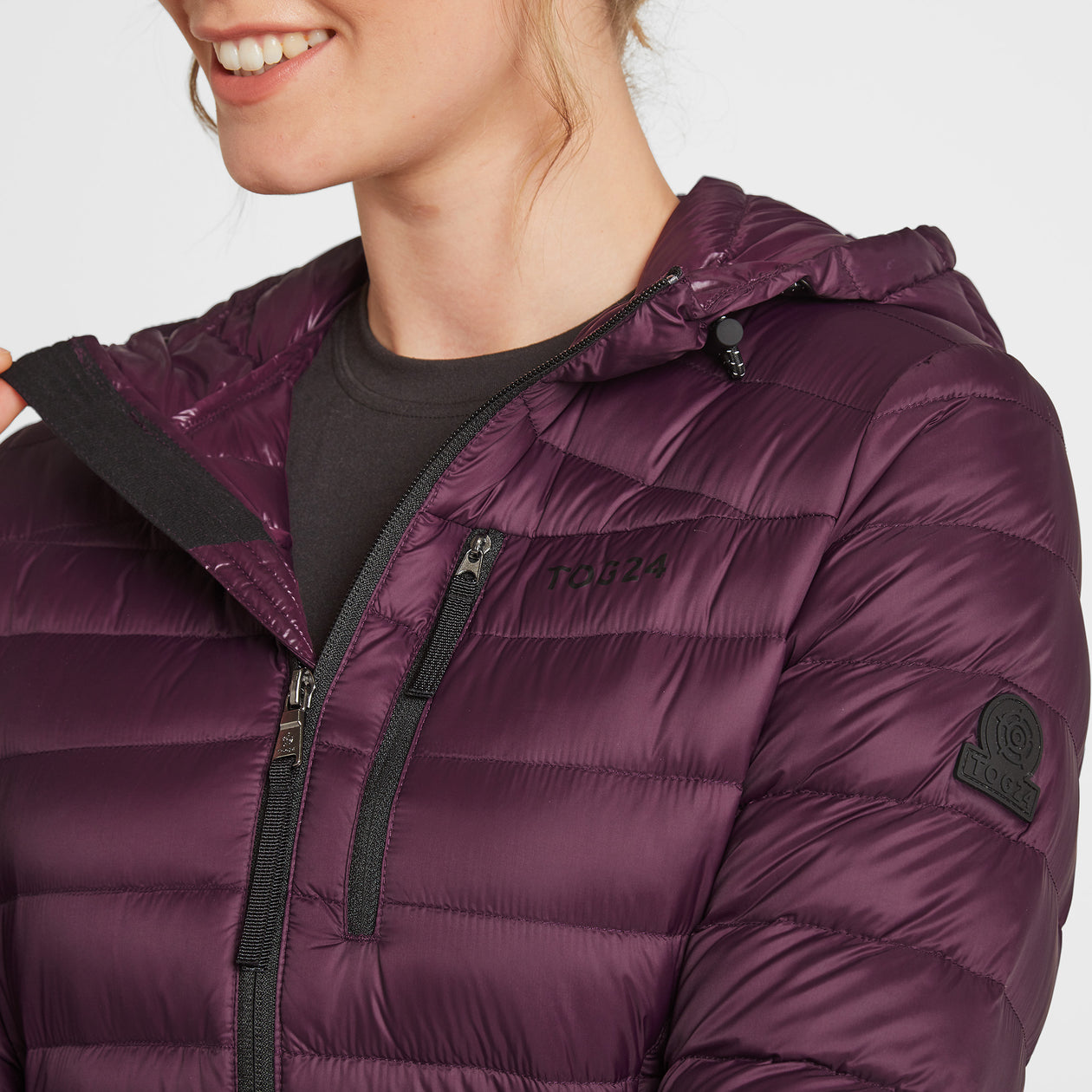 Drax Womens Hooded Down Jacket - Aubergine image 4