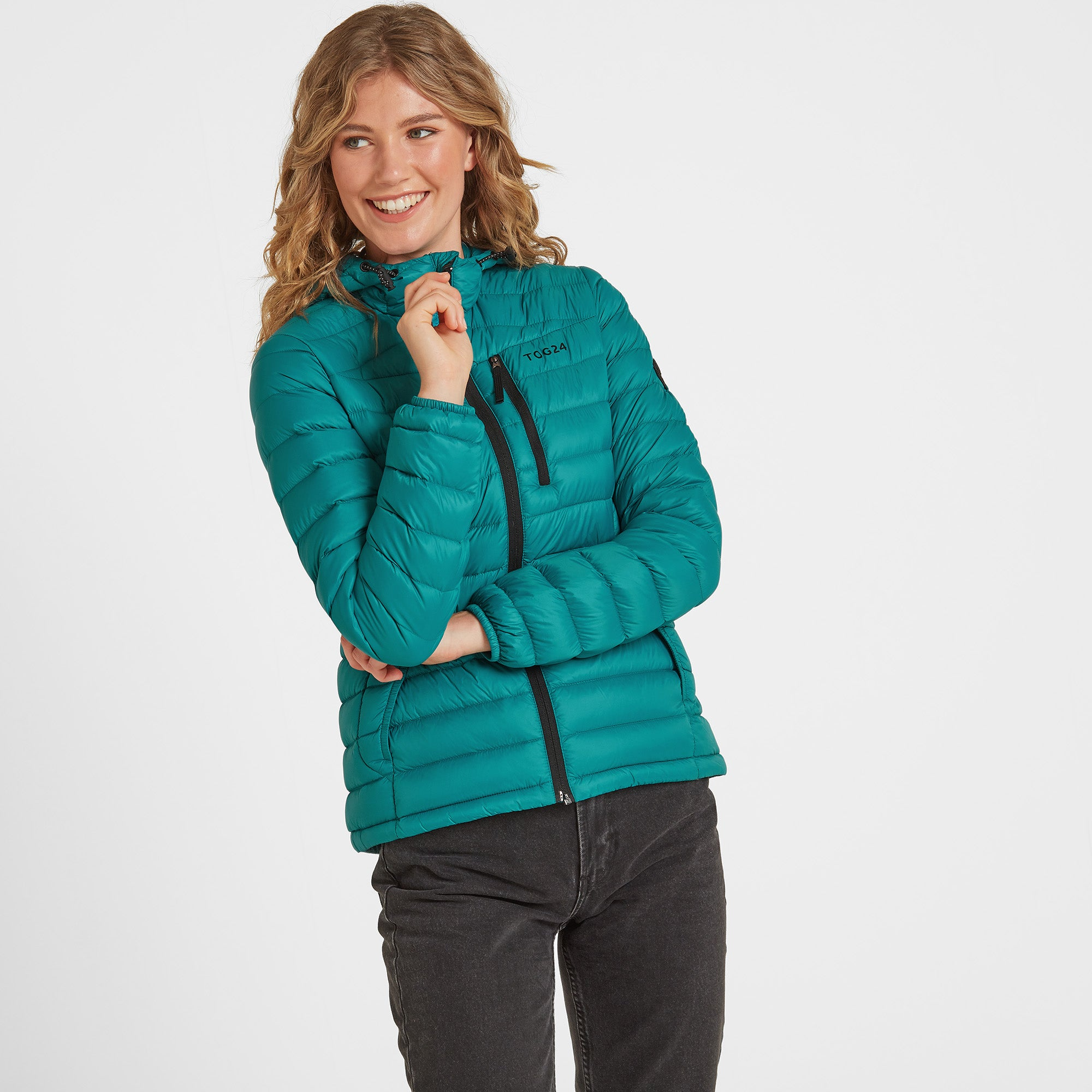 Drax Womens Hooded Down Jacket - Topaz