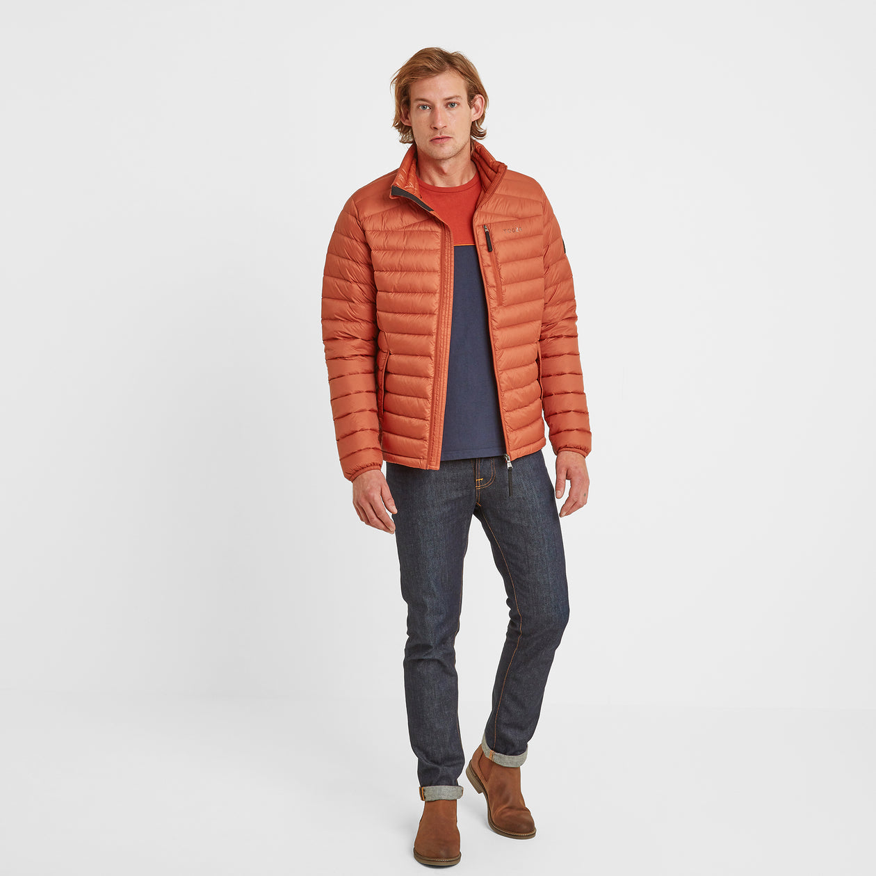 Drax Mens Funnel Down Jacket - Burnt Orange image 4