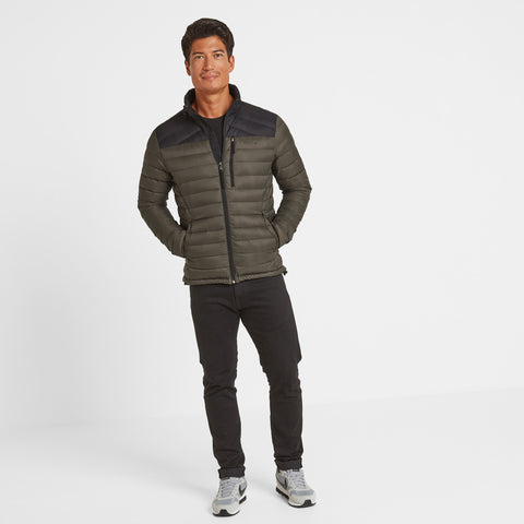 Drax Mens Funnel Down Jacket - Dark Khaki/Black