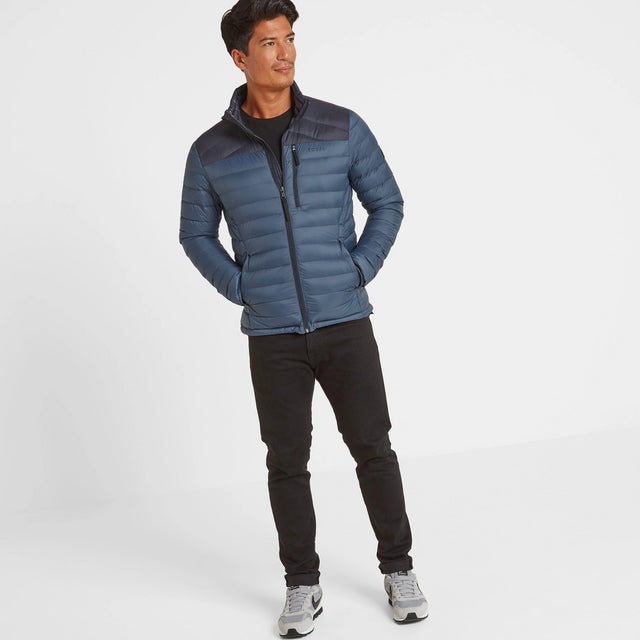 Drax Mens Funnel Down Jacket - Navy/Denim image 2