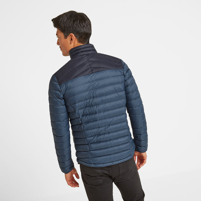 Drax Mens Funnel Down Jacket - Navy/Denim image 3