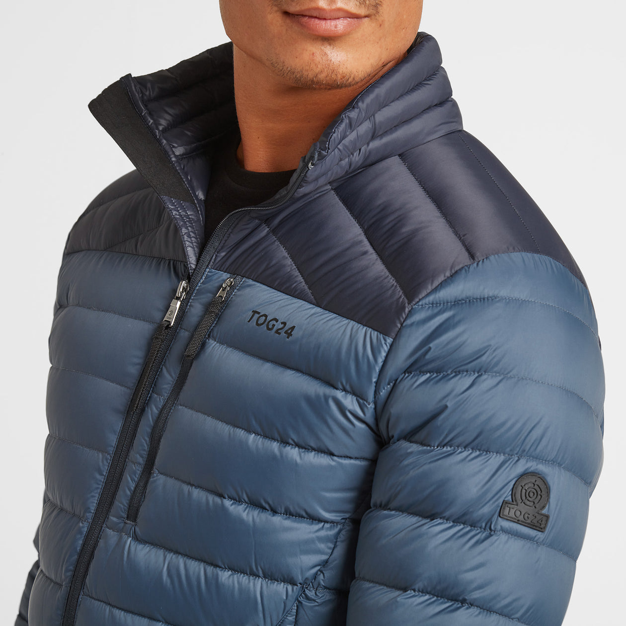 Drax Mens Funnel Down Jacket - Navy/Denim image 4