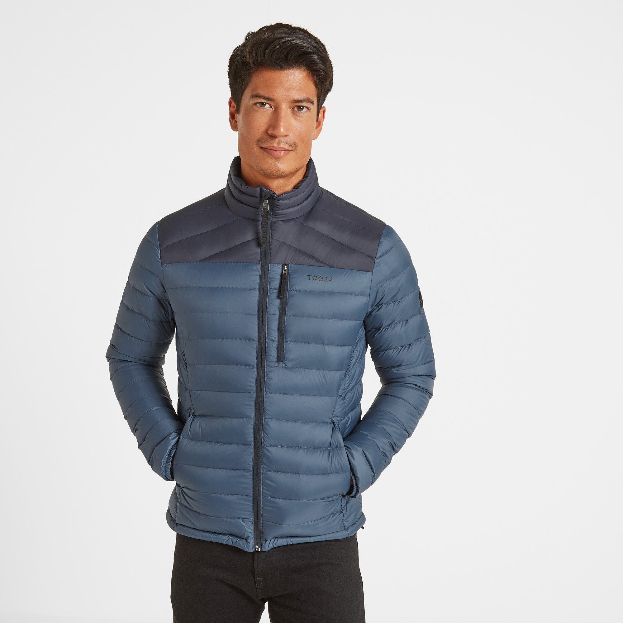 Drax Mens Funnel Down Jacket - Navy/Denim