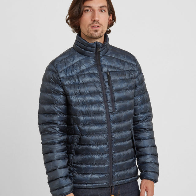 Drax Mens Funnel Down Jacket - Navy Camo image 1
