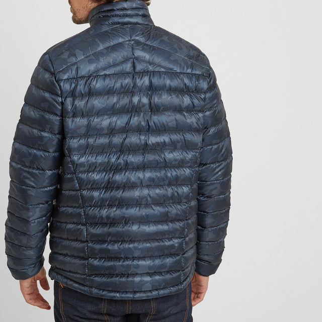 Drax Mens Funnel Down Jacket - Navy Camo image 2