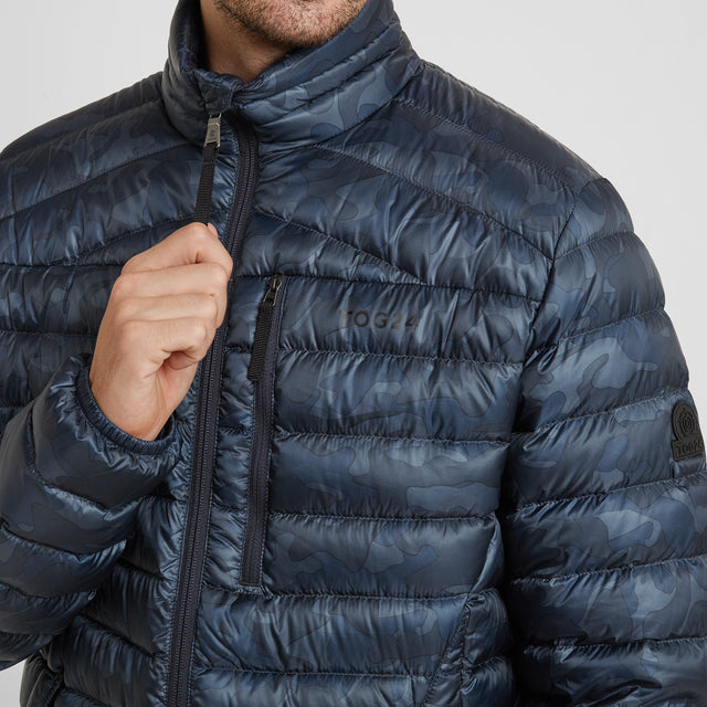 Drax Mens Funnel Down Jacket - Navy Camo image 5