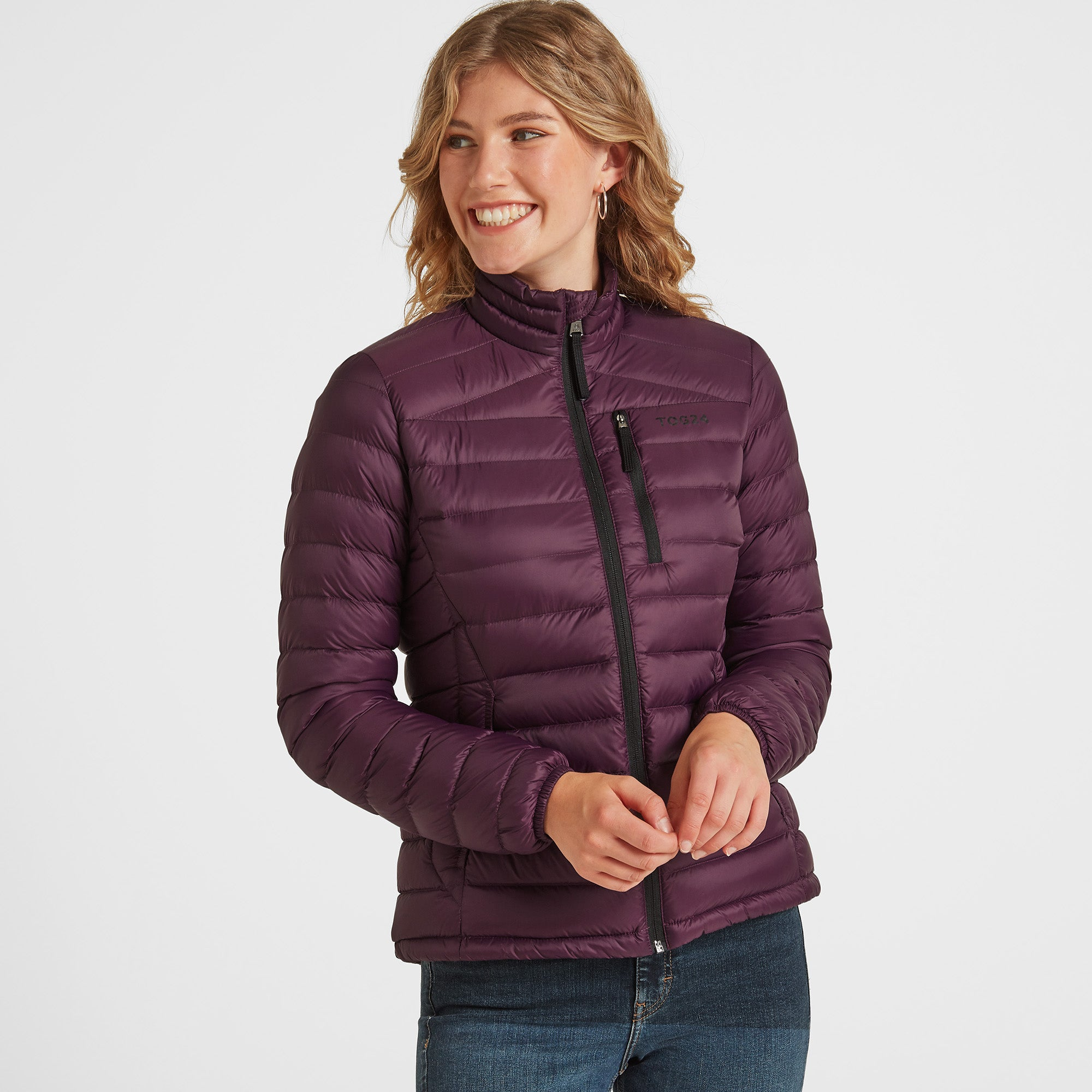 Drax Womens Funnel Down Jacket - Aubergine