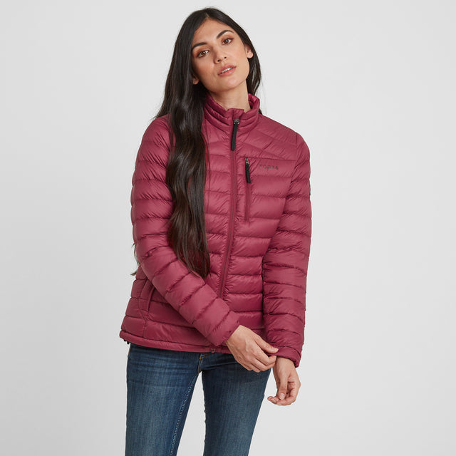 Drax Womens Funnel Down Jacket - Raspberry image 1