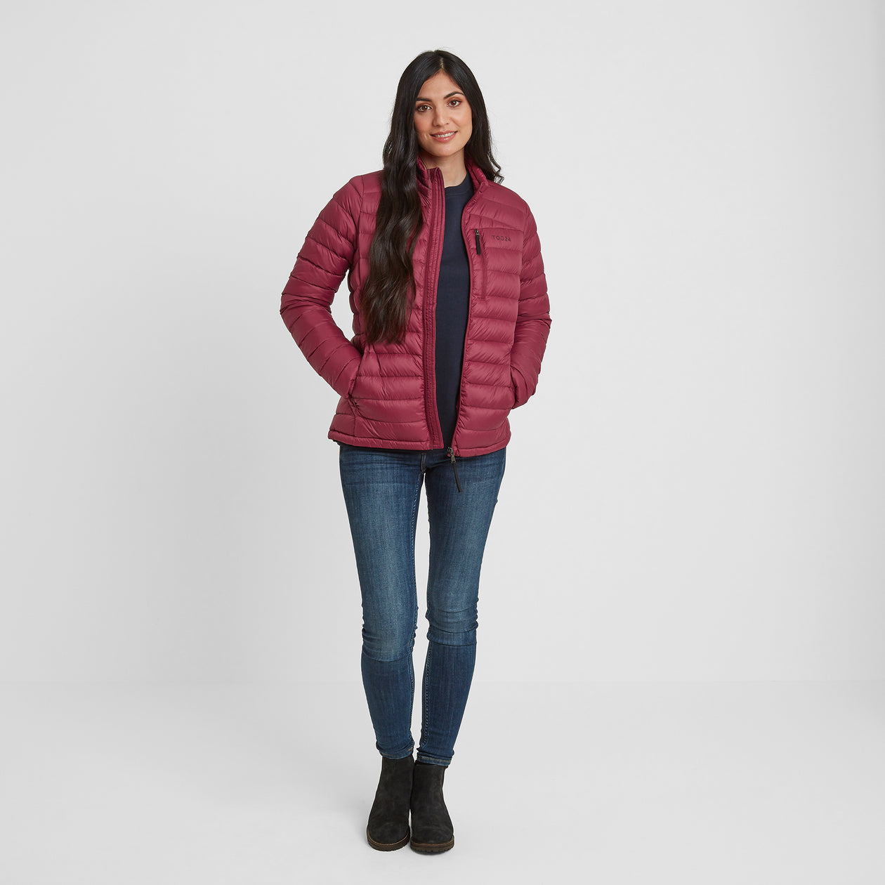 Drax Womens Funnel Down Jacket - Raspberry image 4