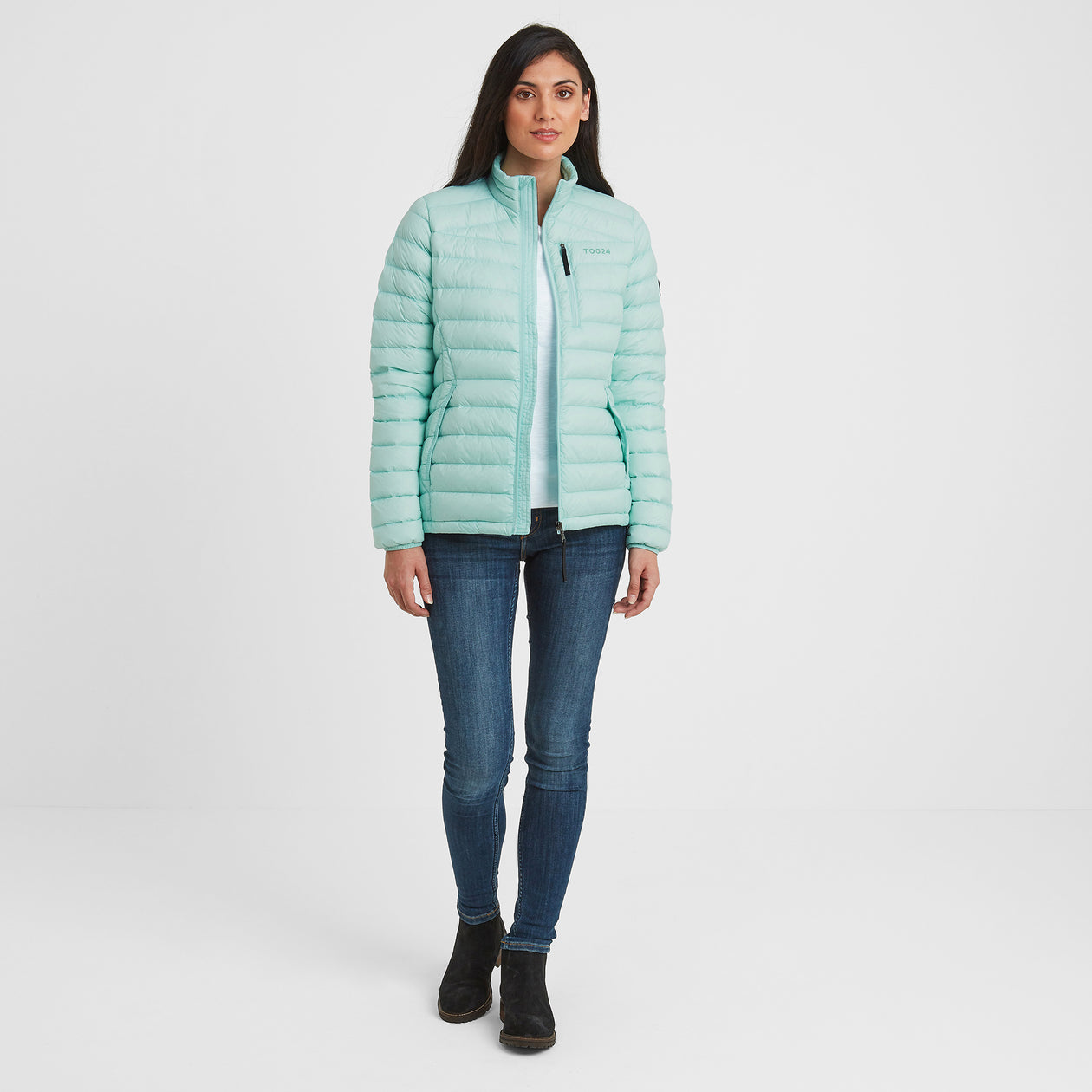Drax Womens Funnel Down Jacket - Mint Blue image 4