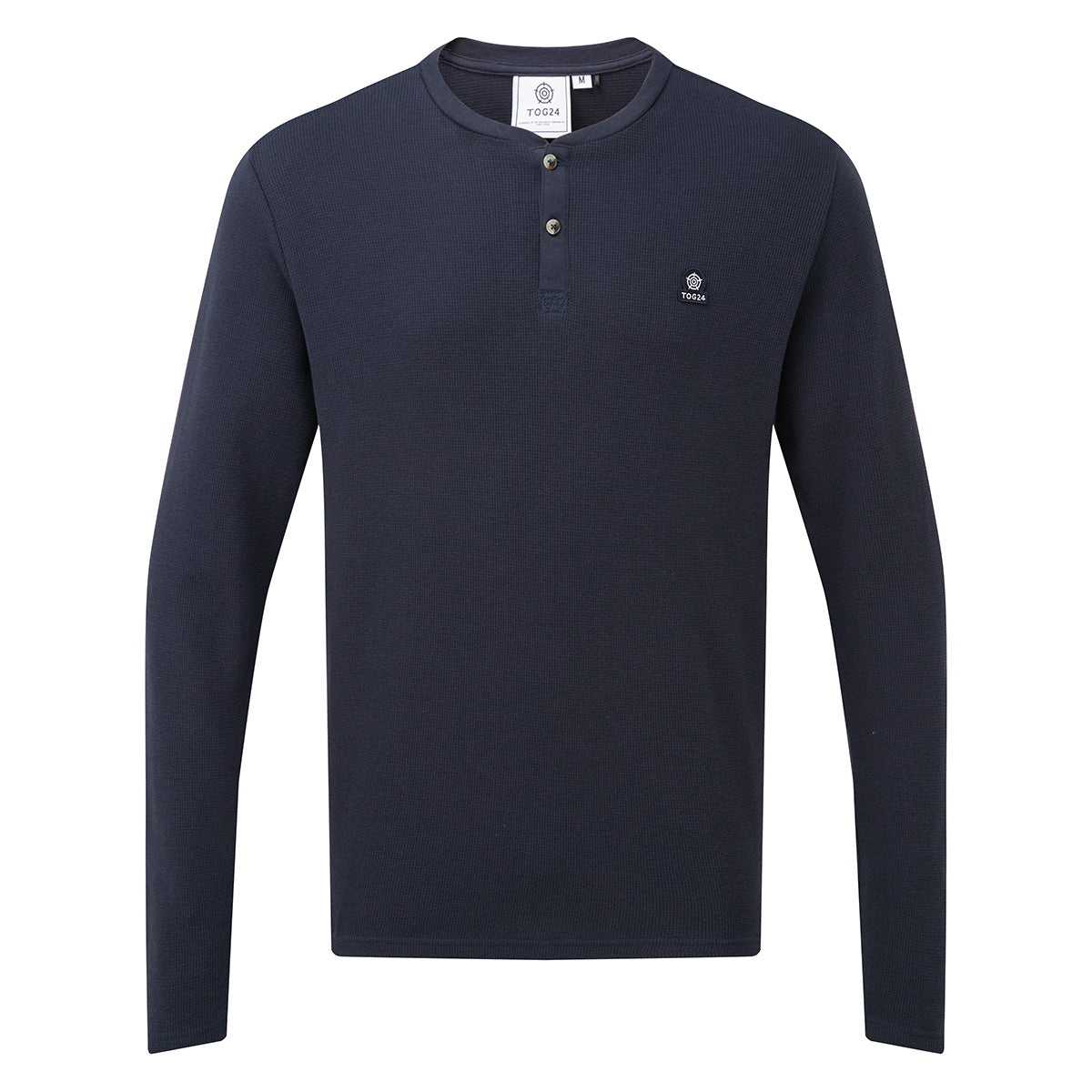 Drewton Mens Grandad Collar T-Shirt - Dark Indigo