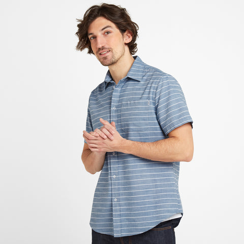 Drexel Mens Stripe Shirt - China Blue