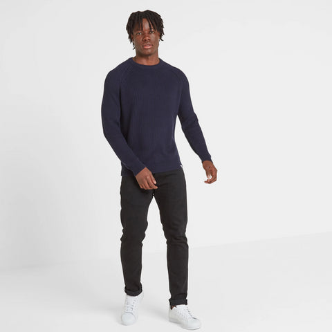 Edwin Mens Ribbed Crew Neck Jumper - Navy