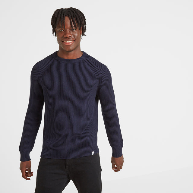 Edwin Mens Ribbed Crew Neck Jumper - Navy image 1