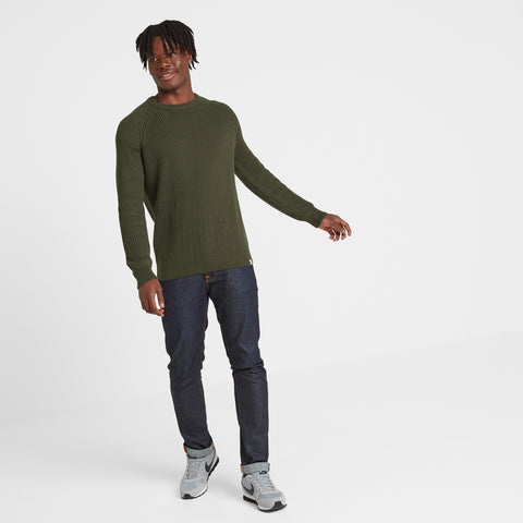 Edwin Mens Ribbed Crew Neck Jumper - Dark Khaki