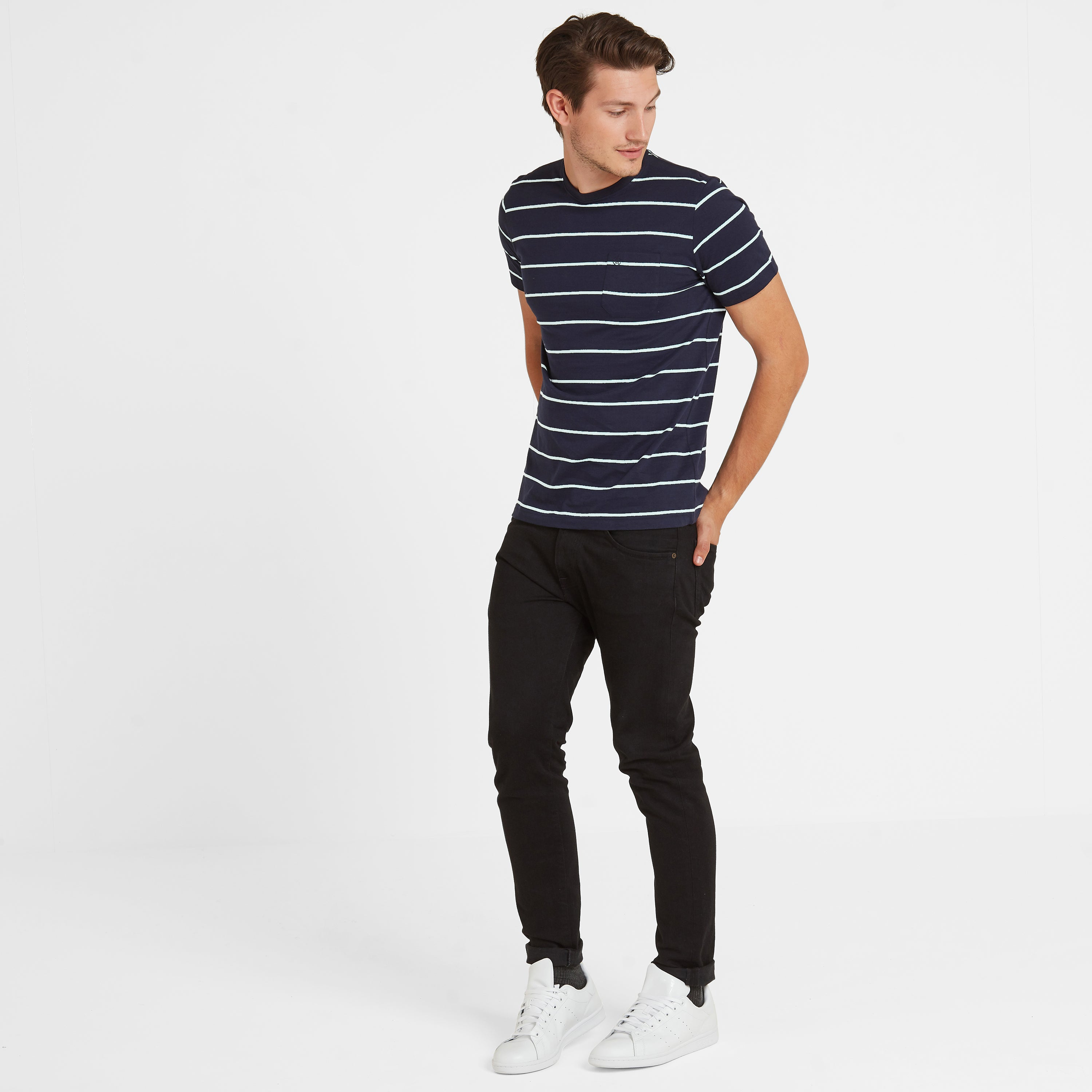Elliot Stripe Mens T-Shirt - Navy/White