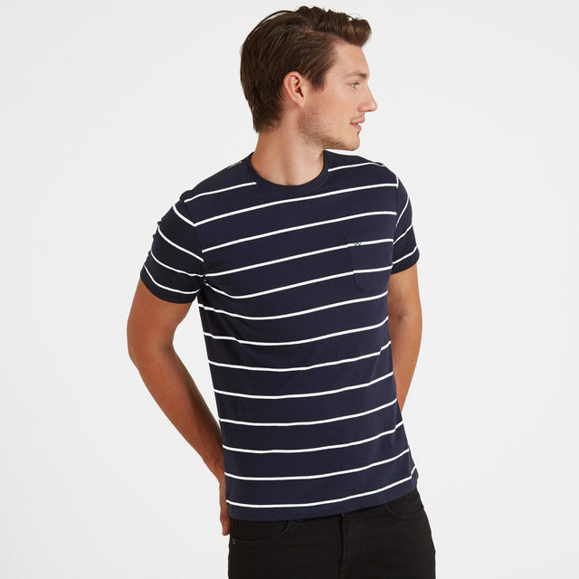 Elliot Stripe Mens T-Shirt - Navy/White image 2