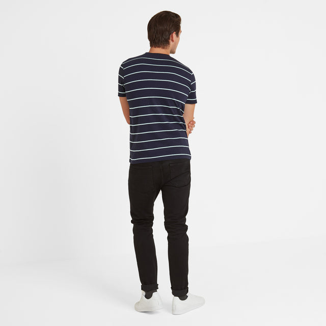 Elliot Stripe Mens T-Shirt - Navy/White image 3
