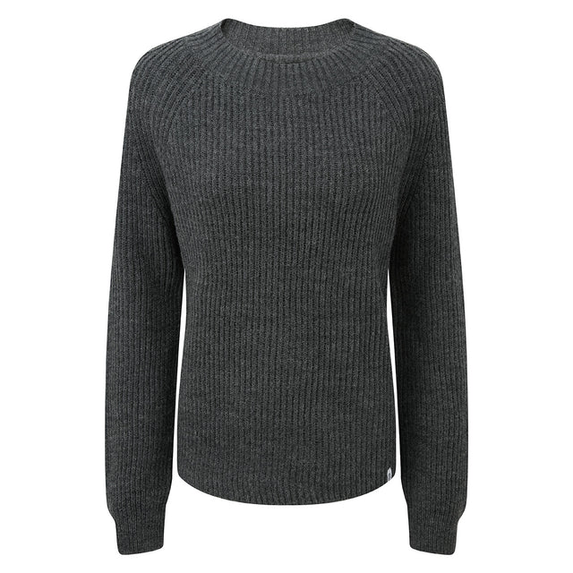 Eloise Womens Chunky Ribbed Crew Neck Jumper - Dark Grey Marl image 3
