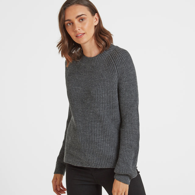Eloise Womens Chunky Ribbed Crew Neck Jumper - Dark Grey Marl image 1