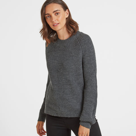 Eloise Womens Chunky Ribbed Crew Neck Jumper - Dark Grey Marl