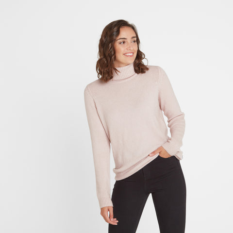 Etta Womens Chunky Roll Neck Jumper - Rose Pink Marl