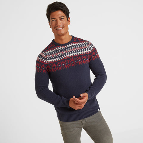 Felix Mens Fairisle/Pattern Jumper - Navy/Chilli