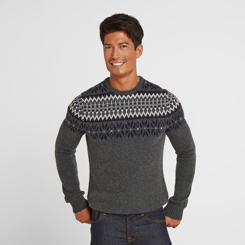 Felix Mens Fairisle/Pattern Jumper - Dark Grey Marl/Navy