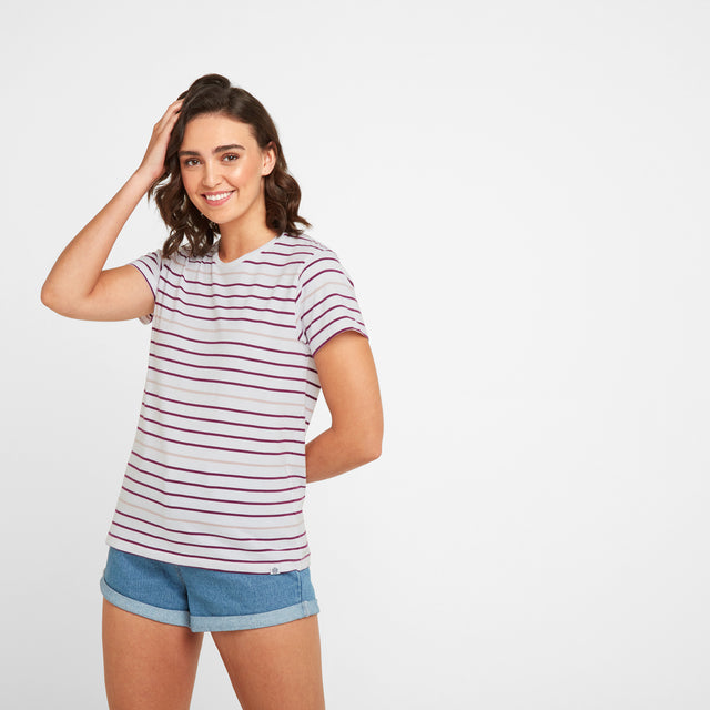 Ferriby Womens Stripe T-Shirt - Mulberry image 1