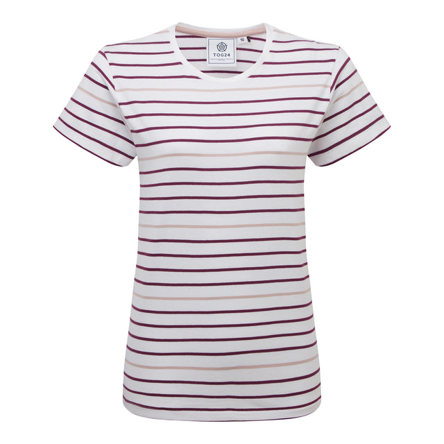 Ferriby Womens Stripe T-Shirt - Mulberry image 3