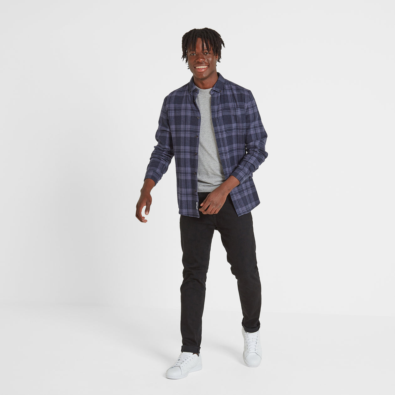 Finley Mens Long Sleeve Flannel Check Shirt - Navy Marl image 4