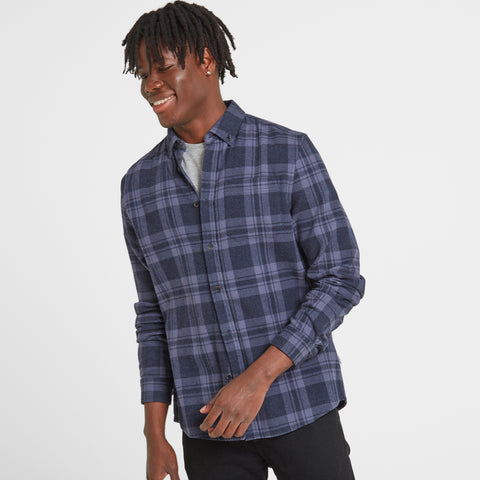 Finley Mens Long Sleeve Flannel Check Shirt - Navy Marl