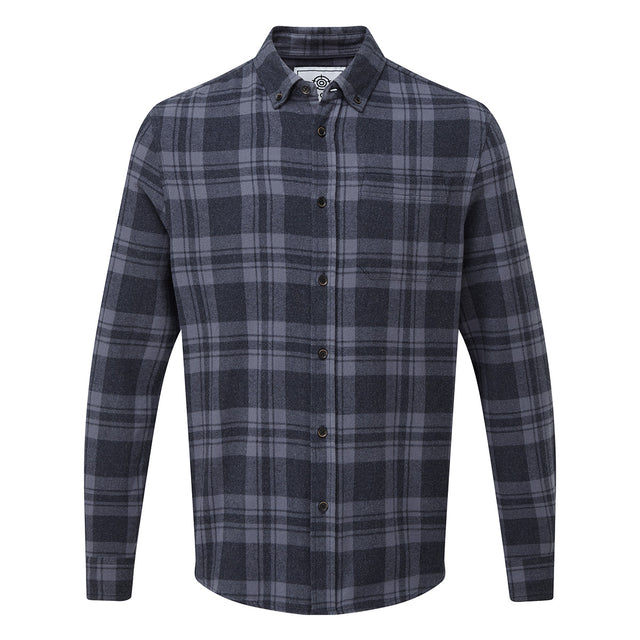 Finley Mens Long Sleeve Flannel Check Shirt - Navy Marl image 3